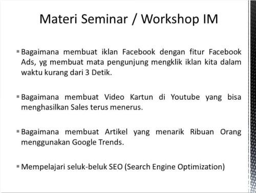 Pembicara Internet Marketing di Cakung Jakarta Timur