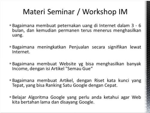 Pembicara Internet Marketing di Cilincing Jakarta Utara