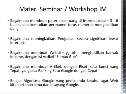 Pembicara Internet Marketing di Blok M Jakarta