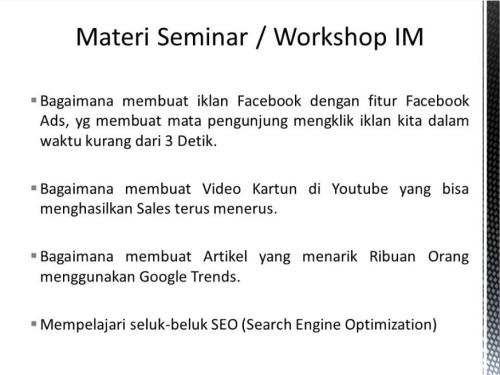 Pembicara Internet Marketing Lengkap di Bengkulu