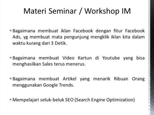Pembicara Internet Marketing di Pontianak Kalimantan Barat