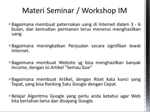 Pembicara Internet Marketing di Pasar Minggu Jakarta Selatan