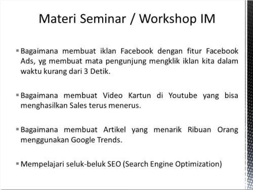 Pembicara Internet Marketing di Mataram NTB